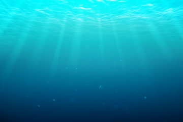 Underwater blue natural with sunray background