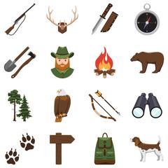 Hunting equipment kit hunting rifle, hunting knife, hunting hat, hunting suit, hunting decoy, hunting matches, Vector illustration