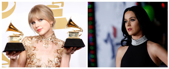 Combo of file photos showing Taylor Swift and Katy Perry