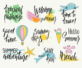 Set of hand drawn summer labels, logos, and elements set for summer holiday, beach vacation. Vector illustration.