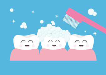 Tooth gum icon. Three cute funny cartoon smiling character set. Toothbrush with toothpaste bubble foam. Oral dental hygiene. Children teeth care. Tooth health. Baby background. Flat design.