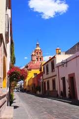 Street with medieval buildings, Queretaro, Mexico