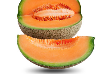 Melon sliced ​​on white background.
