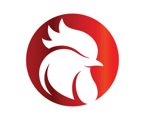 Modern Isolated Animal Head Silhouette Logo Circle - Rooster Symbol