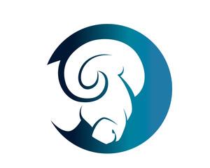 Modern Isolated Animal Head Silhouette Logo Circle - Goat Symbol
