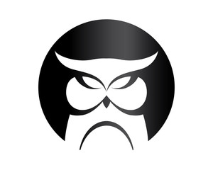 Modern Isolated Animal Head Silhouette Logo Circle - Owl Symbol