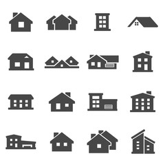 Vector black house icons set