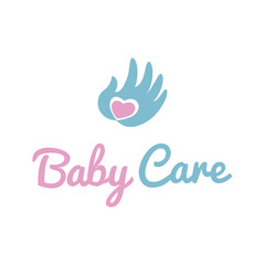 Child protection symbol. Illustratoin of hand with heart. Baby care icon.