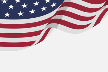 isolated flat american flag for independence day background, for greeting card and wallpaper