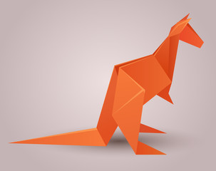Illustration of a paper origami kangaroo. Paper Zoo. Vector element for your design