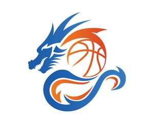 Modern Confidence Animal Sport Illustration Logo - Basketball Dragon Symbol