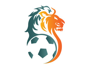 Modern Confidence Animal Sport Illustration Logo - Soccer Lion Symbol