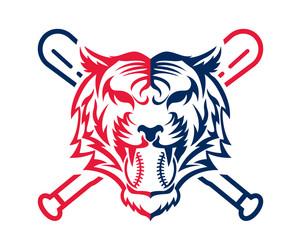 Modern Confidence Animal Sport Illustration Logo - Baseball Tiger Symbol