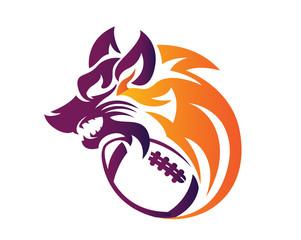 Modern Confidence Animal Sport Illustration Logo - American Football Wolf Symbol
