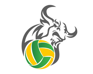 Modern Confidence Animal Sport Illustration Logo -Volley Ball Bull Symbol