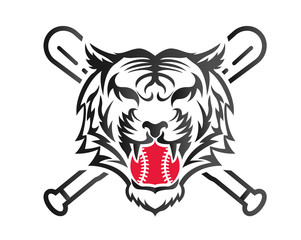 Modern Confidence Animal Sport Illustration Logo - Baseball Tiger Symbol With Bat