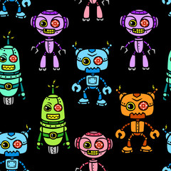 vector angry multicolor robot seamless pattern