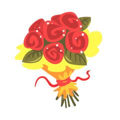 Red roses bouquet cartoon vector Illustration