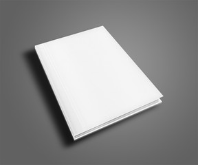 Blank book cover template on gray background with shadows. 3D illustration.