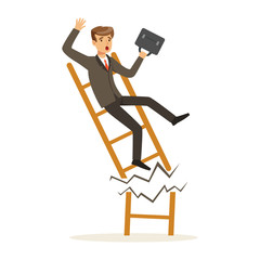Businessman or manager fall down of broken career ladder, unsuccessful character vector Illustration