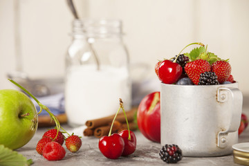 Ingredients for making berry jam