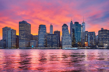 Purple sunset over Manhattan, New York City, USA