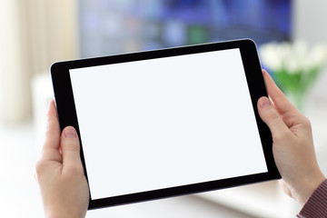 Female hands holding computer tablet with isolated screen in room