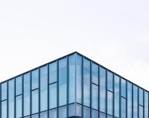 Modern architecture Glass facade window frame Exterior corner