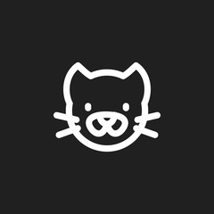 Vector Illustration Of Zoology Symbol On Pussy Outline. Premium Quality Isolated Kitty Element In Trendy Flat Style.
