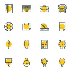Vector Illustration Of 16 Education Icons. Editable Pack Of Bulb, Meter, Calculate And Other Elements.