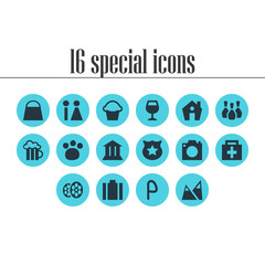 Vector Illustration Of 16 Location Icons. Editable Pack Of Home, Film, Briefcase And Other Elements.
