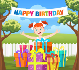 Backyard birthday party scene. Cartoon vector illustration with with happy girl, stack of gifts and ribbon banner happy birthday in garden