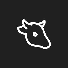Vector Illustration Of Zoology Symbol On Cattle Outline. Premium Quality Isolated Buffalo Element In Trendy Flat Style.