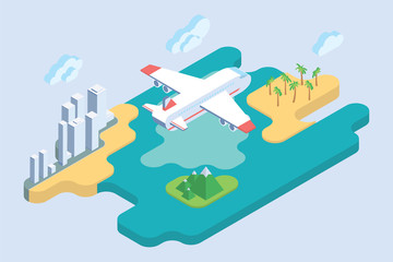 Summer Vacation. Flat Isometric Art. Airliner Travel Vector Illustration.