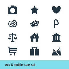 Vector Illustration Of 12 Check-In Icons. Editable Pack Of Heart, Landscape, Home Elements.