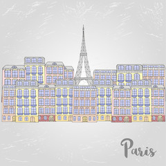 Vector urban banner with buildings and Eiffel Tower for postcards or web.