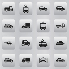 Set Of 16 Editable Transportation Icons. Includes Symbols Such As Cable Railway, Transportation, Chopper And More. Can Be Used For Web, Mobile, UI And Infographic Design.