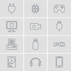 Vector Illustration Of 12 Laptop Icons. Editable Pack Of Antivirus, Flash Drive, Printer And Other Elements.