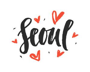Seoul. Modern city hand written brush lettering