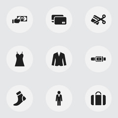 Set Of 9 Editable Business Icons. Includes Symbols Such As Attache Case, Strap, Loan Card And More. Can Be Used For Web, Mobile, UI And Infographic Design.