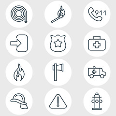 Vector Illustration Of 12 Necessity Icons. Editable Pack Of Fire, Exclamation, Door And Other Elements.