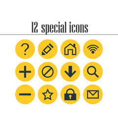 Vector Illustration Of 12 Member Icons. Editable Pack Of Plus, Mainpage, Asterisk And Other Elements.
