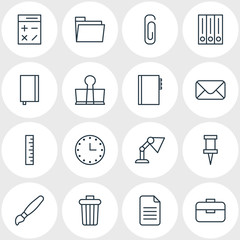 Vector Illustration Of 16 Tools Icons. Editable Pack Of Archive, Illuminator, Watch And Other Elements.