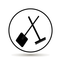 Vector flat illustration of a rake and a shovel. Symbol of the village, the land, the garden. farm on white background