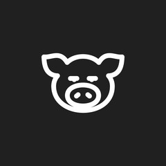 Vector Illustration Of Zoo Symbol On Port Outline. Premium Quality Isolated Piggy  Element In Trendy Flat Style.
