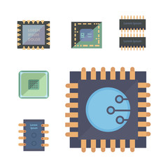 microprocessor and Electronic chips icons . set chip vector illustration