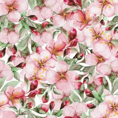 pattern of watercolor sakura flowers