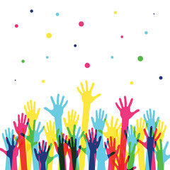 Raised colorful hands at a party. Waving hands in the fun event. Hand-voting in the crowd. Vector illustration