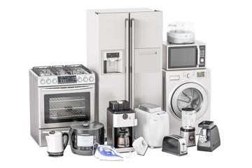 Set of kitchen home appliances. Toaster, washing machine, fridge, iron, gas stove, kettle, mixer, blender, yogurt maker, multicooker, microwave oven, grinder, bread machine, 3D rendering