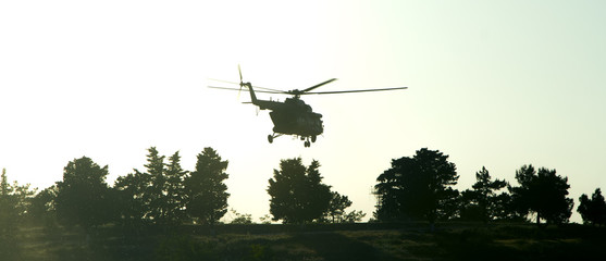 silhouette of military helicopter over the trees at sunset. vintage colored picture